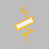 Thunderbolt sign on tranparent background.Vector Superhero Sign. Flash Icon. Color Flat Vector Icon of Power Royalty Free Stock Photo
