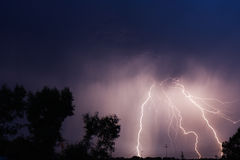 Thunderbolt in the sity. Thunderbolt in the night sity Royalty Free Stock Image