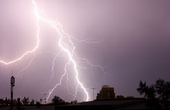 Thunderbolt in the sity. Thunderbolt in the night sity Royalty Free Stock Images