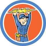 Thunderbolt Toolman Electrician Lightning Bolt Cartoon. Illustration of a thunderbolt toolman electrician worker holding lightning bolt set inside circle done in Royalty Free Stock Photography