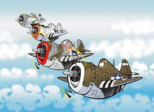 Thunderbolts. Cartoon style caricatures of famous fighter bomber plane p-47 thunderbolt Stock Image