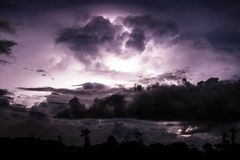 Thundercloud illuminated by lightning Royalty Free Stock Photos
