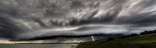 Thundercloud with lightnings royalty free stock image