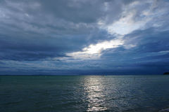 Thunderclouds above sea. In Thailand Stock Images