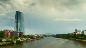 Thunderclouds over the european central bank stock video footage