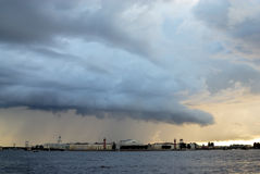 Thunderclouds over Saint-Petersburg stock photography