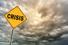 Sign with words Crisis and thunderclouds Royalty Free Stock Photo