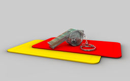 Thunderer whistle with little footie. A set of red and yellow cards with a transparent thunderer whistle and a little footie inside Stock Illustration