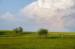 Thunderhead Over The Meadow. A fenced meadow on a bright sunny day with a threatening thunderhead cloud over head Royalty Free Stock Images