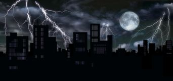 Thunders & full moon over city Stock Images