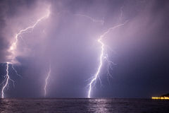 Thunders striking the surface of the sea in Turkey Stock Images