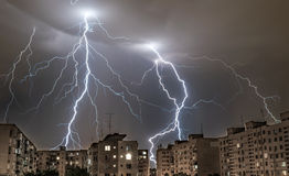 Thunders in summer nights in city Royalty Free Stock Image