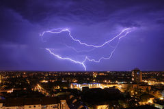 Thundershower and lightning Stock Photos