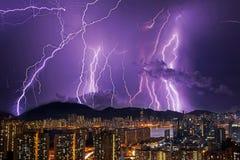夜thunderstom 免版税库存图片
