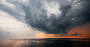 Thunderstom clouds. Cape over the Black Sea in the city of Yalta region Stock Images
