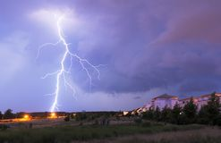 Thunderstorm. With lightnings and cloudy sky at rainy night Stock Photography