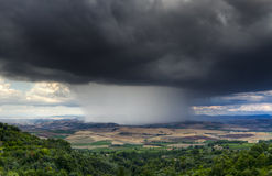 Thunderstorm. Over the Vineyards in Montalcino, Tuscany, Italy Stock Image