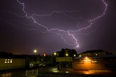 Thunderstorm. In Biella in Italy stock image