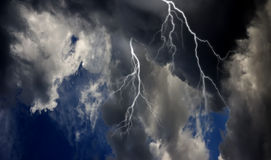 Thunderstorm. A dramatic thunderstorm sky view Stock Photo