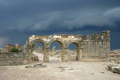 Before a thunderstorm. An ancient Roman necropolis, Turkey, peak of Pamukkale mountain. Shortly before thunderstorm stock photo