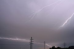 Thunderstorm. Heavy thunderstorm with multiple lightning strokes royalty free stock image