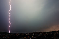Thunderstorm above the village Royalty Free Stock Images
