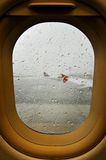 Thunderstorm on airport Royalty Free Stock Photo