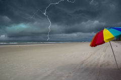 Thunderstorm approaching the beach Royalty Free Stock Photo