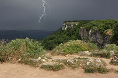 Thunderstorm is approaching over plateau of Crimean mountains. Stock Images