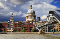 Thunderstorm approaching St.Pauls cathedral Stock Photo