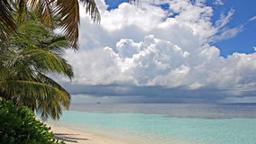 Thunderstorm approaching tropical island, Maldives Royalty Free Stock Photo