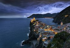 Thunderstorm approaching Vernazza, Italy royalty free stock photos