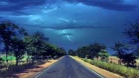 Thunderstorm. Bad weather and empty road Royalty Free Stock Photography