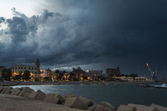 Thunderstorm in Bari. At the sunset stock photo