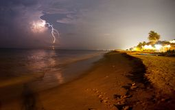 Thunderstorm. On beach Stock Images