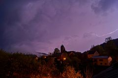 Thunderstorm with bright lightnings next to gerolstein, Germany royalty free stock image