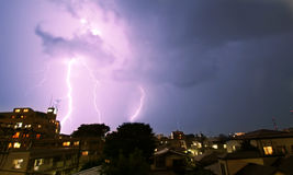 Thunderstorm in the city. Thunderstorm with lightning in the city Royalty Free Stock Image