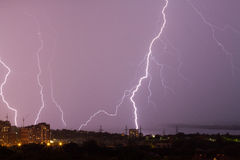 Thunderstorm in the city Royalty Free Stock Photos