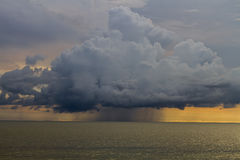 Thunderstorm cloud. Over the ocean Royalty Free Stock Photo