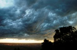 Thunderstorm clouds. Landscape with heavy, grey thunderstorm clouds Royalty Free Stock Photography