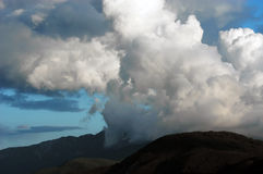 Thunderstorm clouds above mountain. Dangerous thunderstorm clouds above mount Athos, Halkidiki, Greece, Monk`s republic Royalty Free Stock Photography