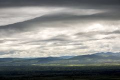 Thunderstorm clouds. Dramatic sky before the storm. Kakheti region in Georgia.  stock image