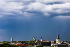 Thunderstorm clouds over old Tallinn Stock Image