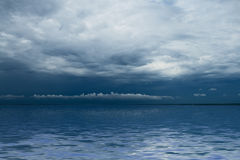 Thunderstorm cloudscape. Ocean before storm stock image