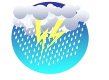 Thunderstorm colored illustration Stock Images