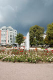 The thunderstorm coming to the fountain. Stock Photography