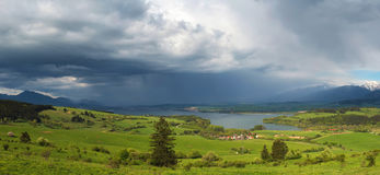 Thunderstorm is coming to a small village Royalty Free Stock Photo