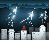 Thunderstorm and dark clouds over city Stock Photo