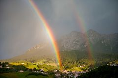 After the thunderstorm. Double rainbow  After the thunderstorm Royalty Free Stock Photo