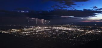 A Thunderstorm After Dusk Over Albuquerque, New Mexico. A Thunderstorm After Dusk Approaches the City of Albuquerque, New Mexico royalty free stock photography